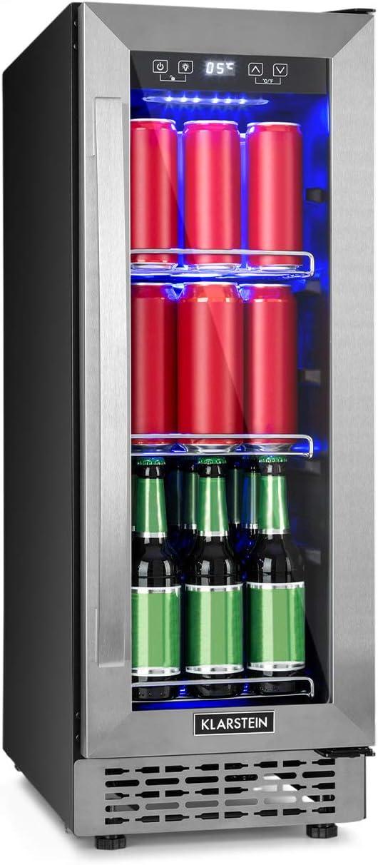Klarstein Beerlager 56 Nevera para bebidas - 56 litros, 20 botellas, Eficiencia energética clase A, altura 82 cm, puerta de vidrio y acero inoxidable, temperatura: 0-10 °C, control táctil, Negro