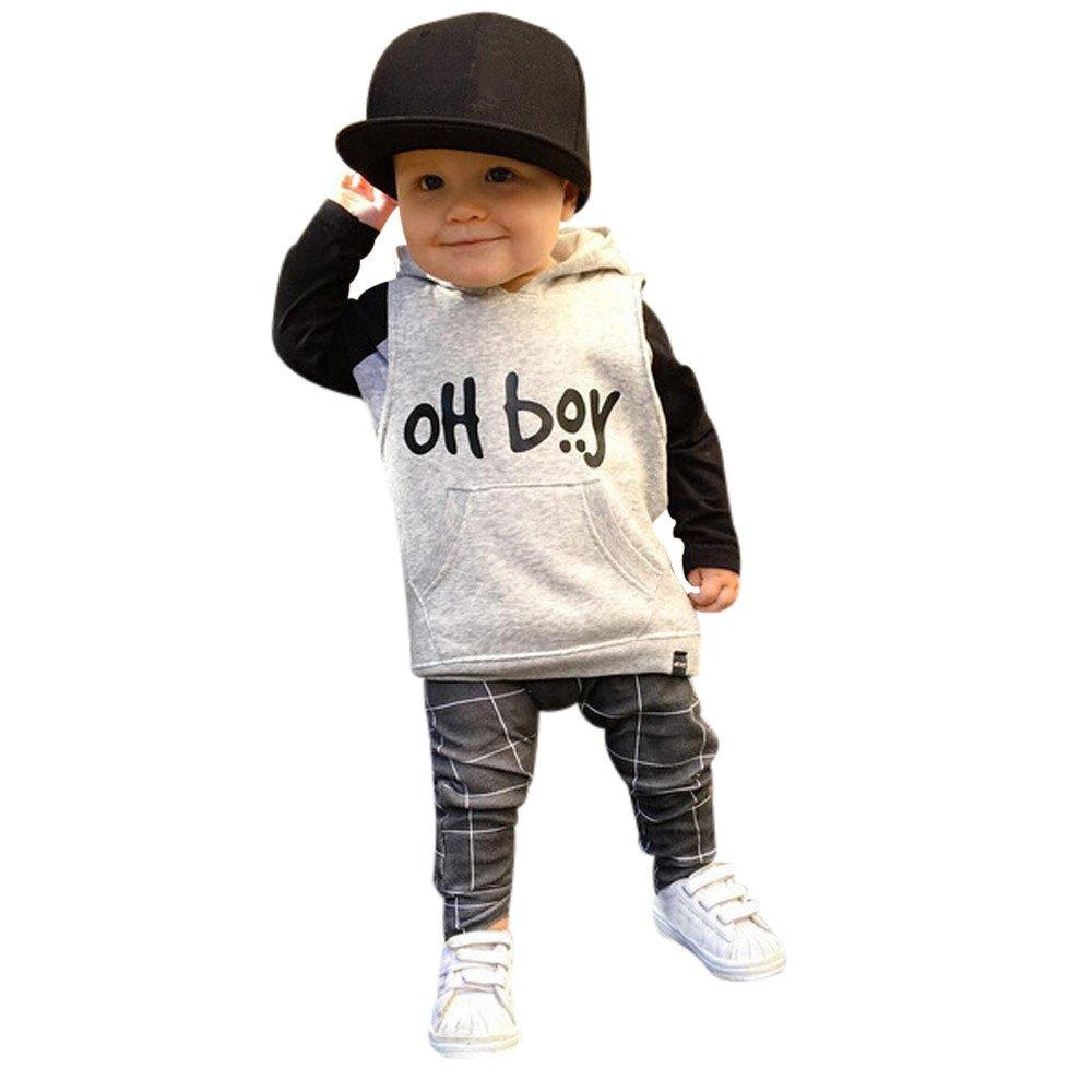 """Conjunto de Bebé Niño, Covermason """"OH Boy"""" Impresión Encapuchado Suéter y Enrejado Pantalones para 0-3Años Covermason-55"""