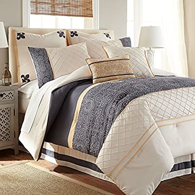 Lyra 8-Piece Modern Embroidered Down Alternative Comforter Set - Bed In A Bag - Queen