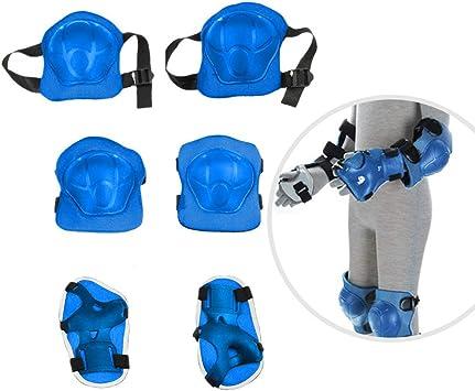 JJOnlineStore - Protecciones de seguridad con almohadillas para rodillas, codos, palmas, muñecas, ideal para niños con patines, monopatines o bicicletas (juego de 6 unidades), azul: Amazon.es: Deportes y aire libre