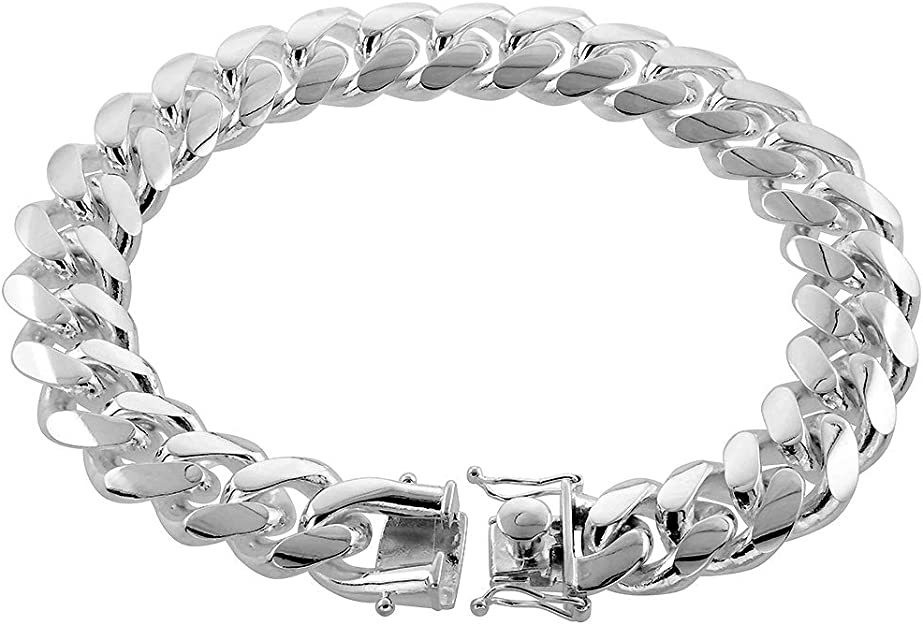 """9/"""" Details about  /Sterling Silver Polished 6.25mm Open Curb Bracelet w// Lobster Clasp 7/"""""""