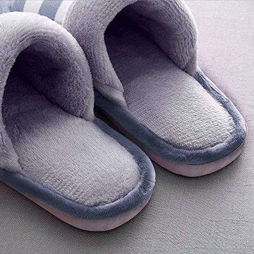 Unisex tela zapatos tamaño suave interior Invierno patrón hombres 40 escocesa de mujeres zapatillas antideslizante cálido 41 dqcxfYwx7O