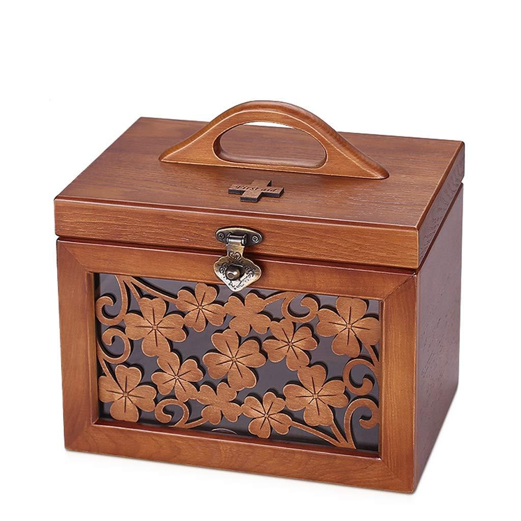 CQ 木製の医学箱家庭用小型応急処置キット医療用品家族医学医薬品保管ボックス大容量   B07KTXG4CM
