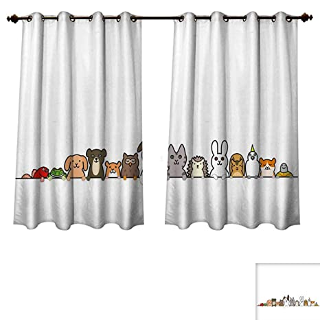 RuppertTextile Toddler Bedroom Thermal Blackout Curtains Cute Domestic Pets  Various Animals With Funny Expressions Humorous Cartoon