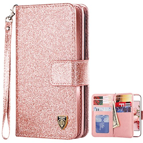 iPhone 5S Case, iPhone SE Case, BENTOBEN Sparkle iPhone 5 Wallet Case Glitter Credit Card Slots Cash Holder Luxury Shiny Bling Flip Faux Leather Protective Case for iPhone 5/5S/SE, Rose Gold