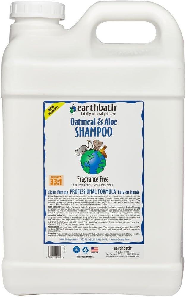 Earthbath Oatmeal & Aloe Shampoo, Fragrance Free 320 oz(2.5 Gal)