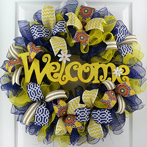 Summer spring welcome deco mesh wreath; navy blue yellow red