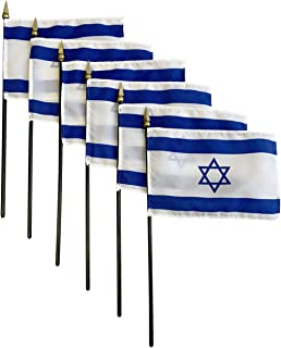 product image for Set of 6 4x6 E-Gloss Stick Flag Israel - Flag Only - Made in The USA