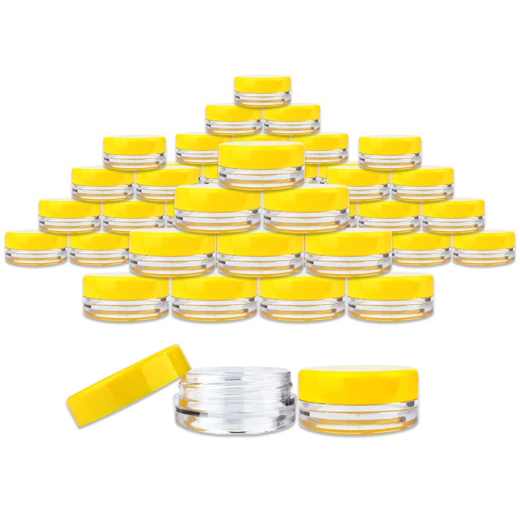 Beauticom 3 Gram / 3 ML (Quantity: 2000 Pieces) Round Acrylic Small Sample Jar Containers with Yellow Lids for Makeup Beauty Cosmetics Lotion Salves Scrubs Ointments