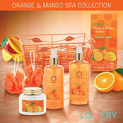 Home Spa Gift Basket - Orange & Mango Fragrance - Luxurious 7 Piece Bath & Body Set For Women & Men, Contains Shower Gel, Bubble Bath, Body Lotion, Bath Salt, 2 Bath Poufs and Handmade Basket