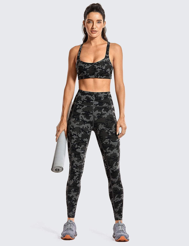 CRZ YOGA Femme Legging de Sport Fitness Taille Haute en Tissu L/éger avec Poche-63cm