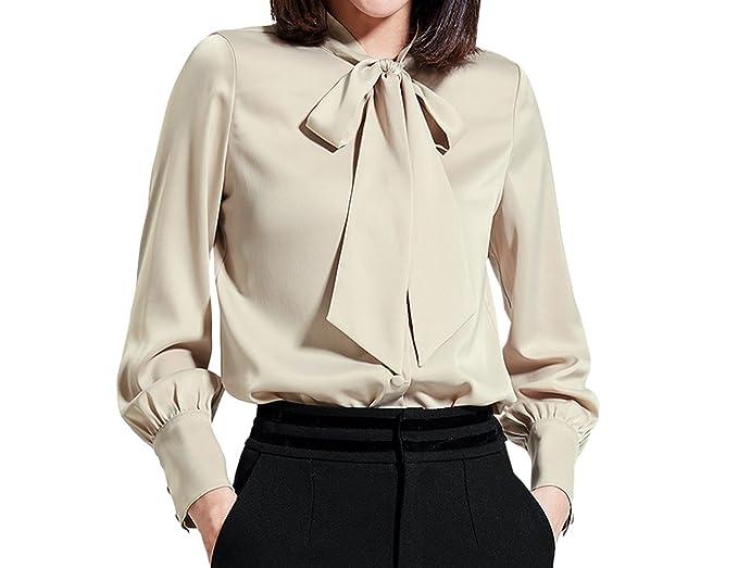 Simple-Fashion Primavera y Otoño Mujeres Camisas Joven Moda Colores Lisos Blusa de Gasa tee