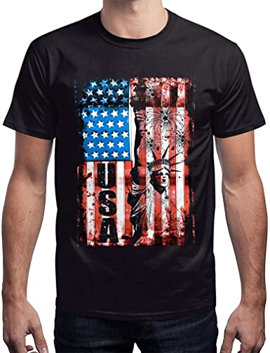 Mens T-Shirts Summer Casual Printed Independence Day Loose Round Neck Shirt Tops