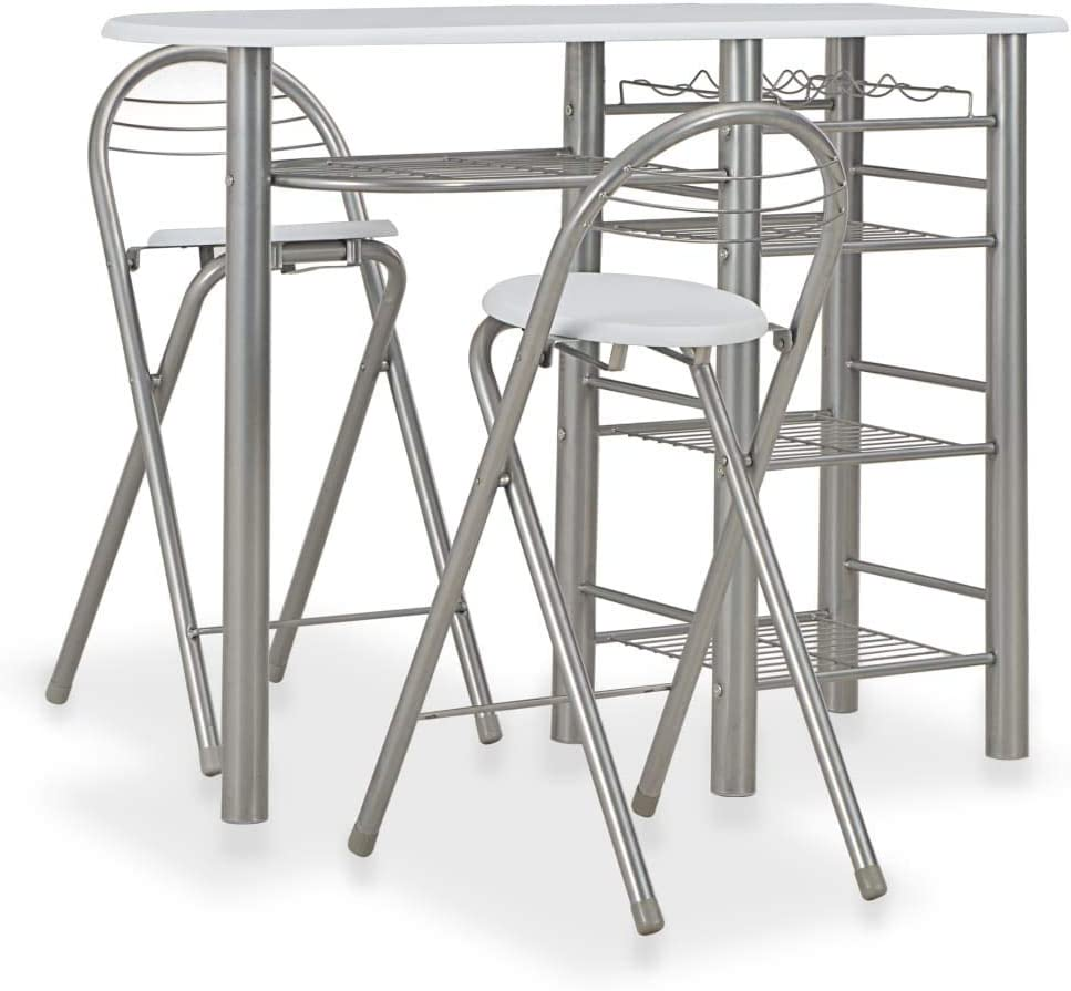 woyaochudan 3 Piece Bar Set with Shelves Wood and Steel, Table and 2 Chairs for Homes, Garden, Bars, Pubs, or Restaurant White