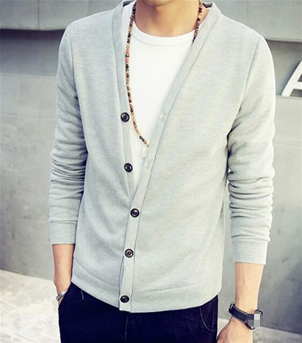 XXBlosom Mens Slim Knits Knit Button Front Pure Color Cardigan Sweater