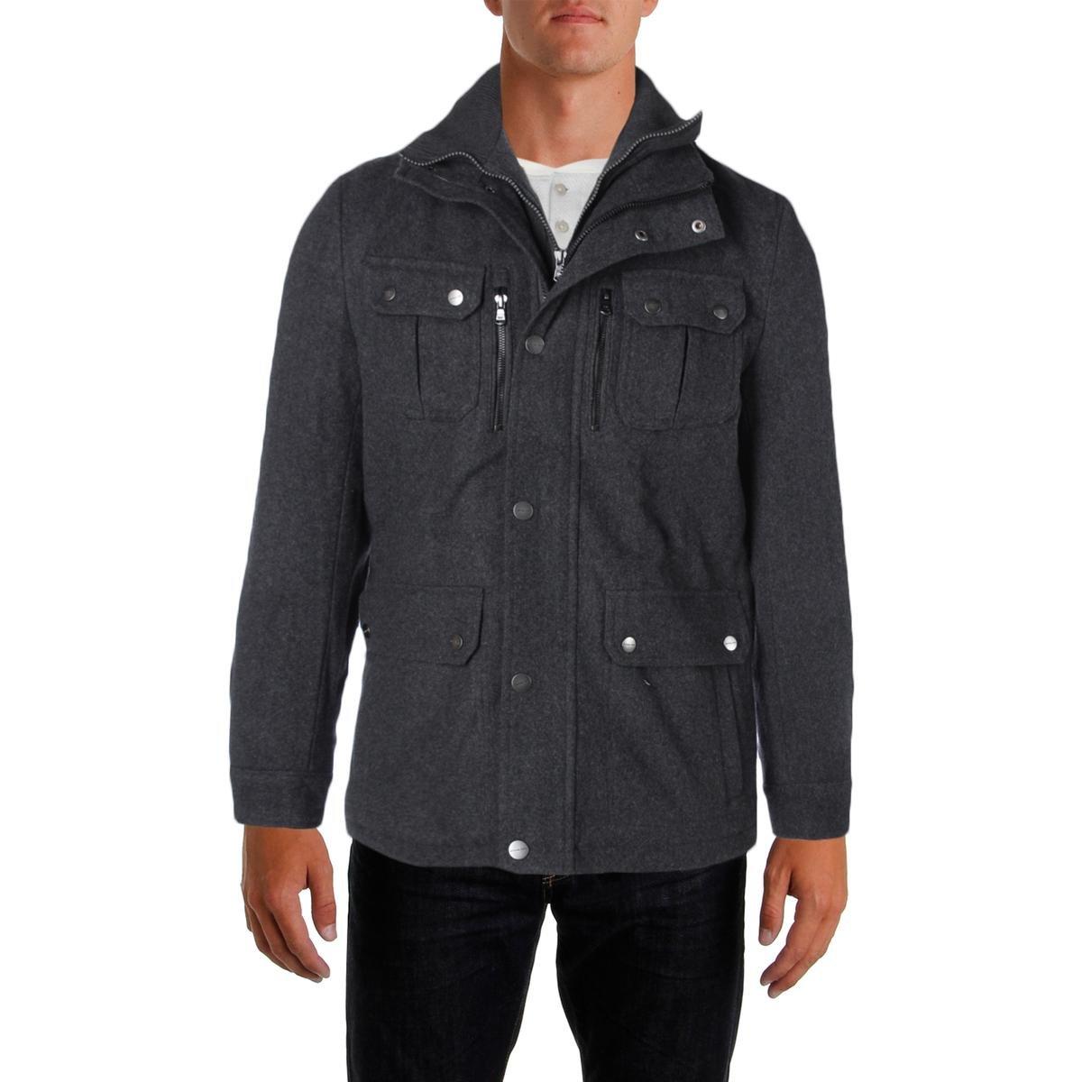 Michael Kors Mens Wool Attached Bib Field Coat Gray M by Michael Kors (Image #1)