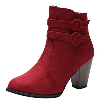 LuckyGirls Botas Zapatos de Tacón para Mujer Hebilla Moda Sexy Botitas Botines 8cm: Amazon.es: Deportes y aire libre