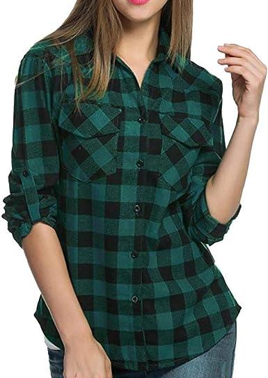 Verde y azul de la Mujer camisa a cuadros: Amazon.es: Ropa y