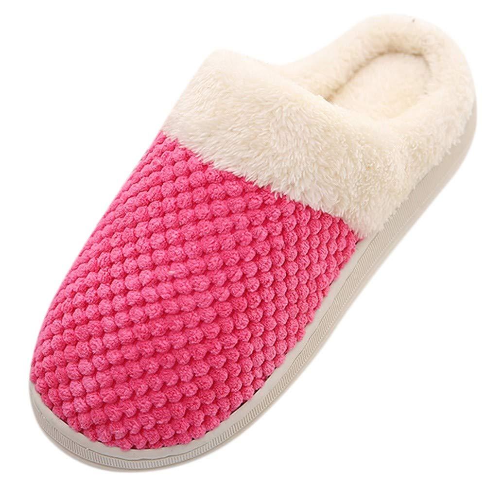 NUWFOR Women Warm Home Plush Soft Slippers IndoorsAnti-slip Winter Floor Bedroom Shoes(Watermelon Red,6-7.5 M US)