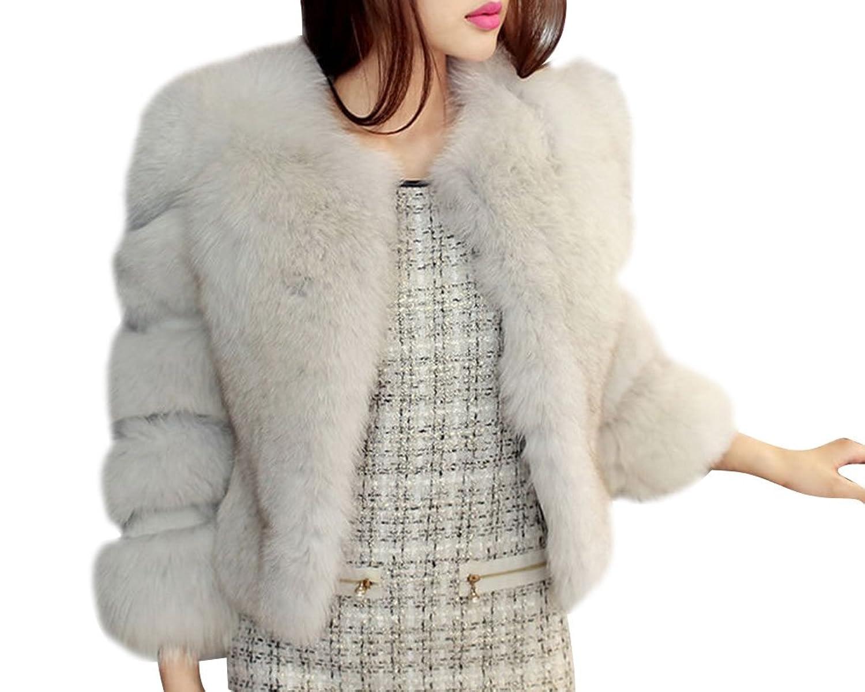 Frauen Faux Fell Felljacke Weiche Jacke Langärmelige Mantel Pelzmantel Jacket