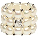 D'AMA 3 strand Freshwater Cultured Pearl Womens Stretch Ring