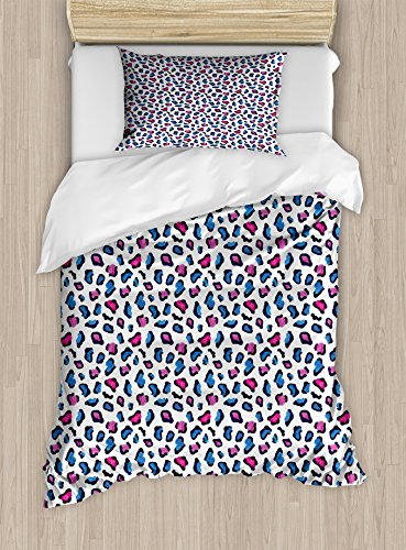 Ambesonne Camouflage Twin Size Duvet Cover Set, Exotic African Safari Animal Skin Pattern in Watercolors Leopard Jaguar, Decorative 2 Piece Bedding Set with 1 Pillow Sham, Blue Pink and Black