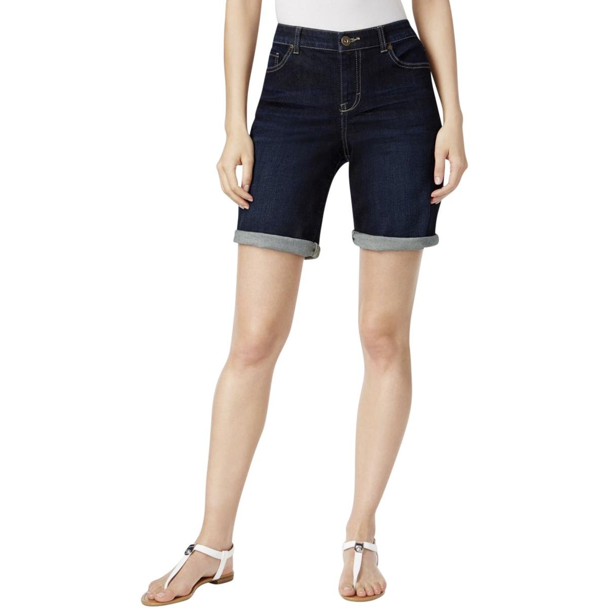 Style & Co. Womens Caneel Wash Mid-Rise Denim Shorts Blue 4
