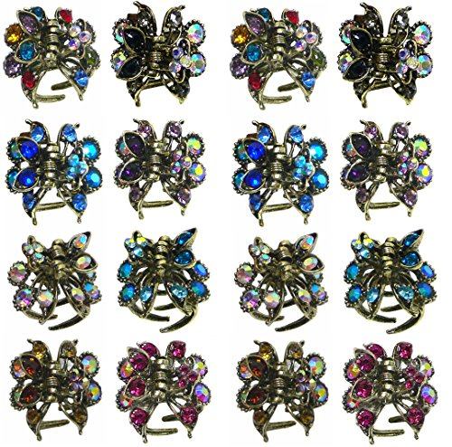 2 Set of 8 Mini Jaw Clips, Decorated with Sparkling Crystals, Total 16 Jaw Clips LPW864175-5-8-2