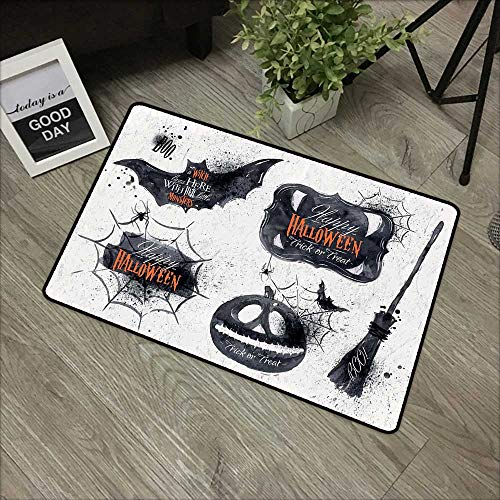 Meeting Room mat W35 x L59 INCH Vintage Halloween,Halloween Symbols Happy Holiday Witch Lives Here Broomstick Spider Web,Black White Non-Slip Door Mat Carpet