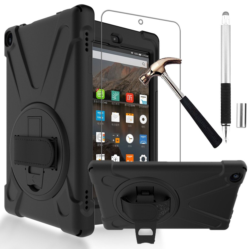 Gzerma Fire HD 8 Case 7th Generation with Fire HD8 Screen Protector 2017, 3in1 [Kid Proof] Shockproof Heavy Duty Cover with Hand Strap, Stylus Pen, Kickstand for All New Amazon Kindle Fire 8 (Black)