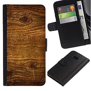 """HTC One M8 , la tarjeta de Crédito Slots PU Funda de cuero Monedero caso cubierta de piel ("""" Wood Nature Pattern Texture Brown Wall"""")"""