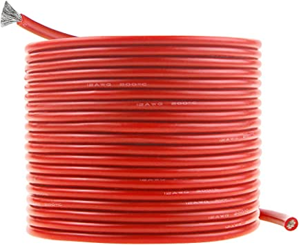 12 AWG 200 FEET PRIMARY WIRE RED AND BLACK INSULATED COPPER STRANDED Made In USA