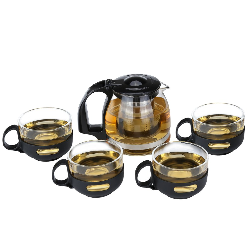 Teapot Set Glass Teapot with Removable Stainless Steel Infuser for Loose Leaf Tea or Blooming Tea,Clear Borosilicate Glass Teapot with 4 Cups WEITRON