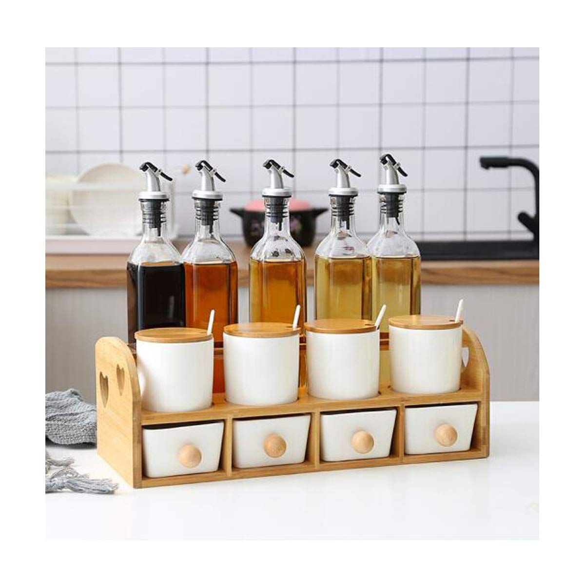 MINGRUIGONGMAO Spice jar set Spice jar ceramic seasoning box salt tank oil bottle combination with shelf kitchen rack storage combination, color style more optional Plush toys (Color : D) by MINGRUIGONGMAO