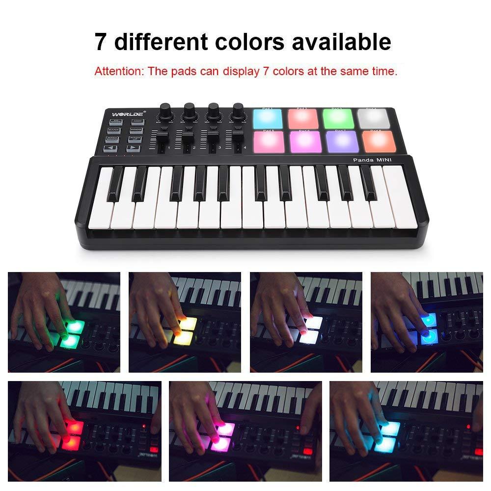 MIDI Keyboard 25 Keys, Worlde Panda MINI II USB Keyboard MIDI with 8 RGB Backllit Drum Pads, 4 Sliders and 4 Knobs by Vangoa (Image #4)