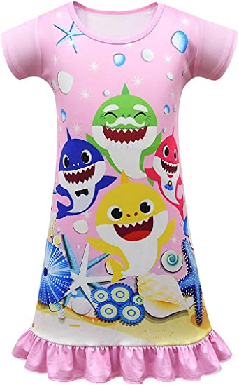 KIDHF Toddler Girl Baby Princess Pajamas Shark Cartoon Print Pajamas PJS
