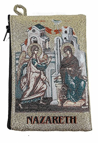 Icon Case Pouch Coin Purses Tapestry Prayer With Annunciation of Virgin Mary 5.7'' by Holy Land Gifts