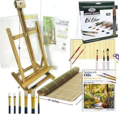 Complete Artist Oil Painting Set with Bamboo Full Size Table Easel