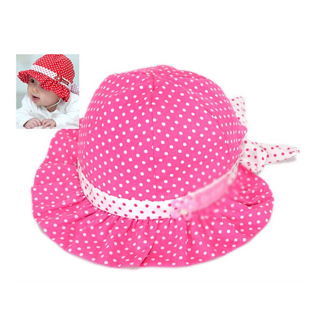 Cute 3-24 Months Baby Girls Sun Polka Dot Hearts Cotton Summer Hat Cap Hot Pink