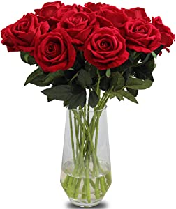 Amzali Artificial Flowers, Real Looking Fake Roses Long Stem Silk Artificial Rose Flowers Home Decor for Bridal Wedding Bouquet, Centerpieces Birthday Flowers Party Garden floral Arrangement Red