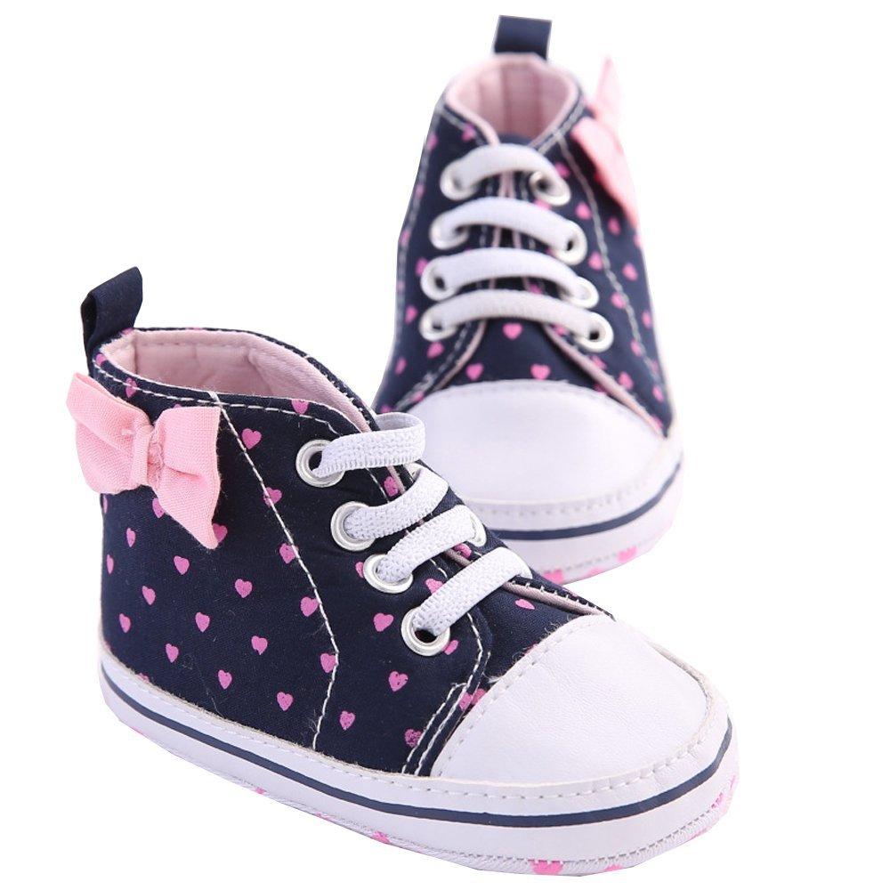 Pink Size 11 WAYLONGPLUS Infant Canvas Soft Sole Anti-Slip Prewalker Toddler Crib Shoes Love Print Sneaker