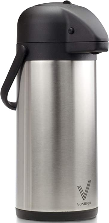 Airpot Coffee Dispenser with Pump - Insulated Stainless Steel Coffee Carafe (85 oz.)