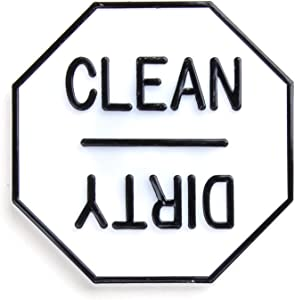 Fox Run Clean or Dirty Dishwasher Magnet, 2.5 x 2.5 x 0.25 inches, White