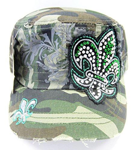 Fleur De Lis Multi Rhinestone Womens's Distressed Look Cadet Hat Cap New (Hat New Camouflage Camo)