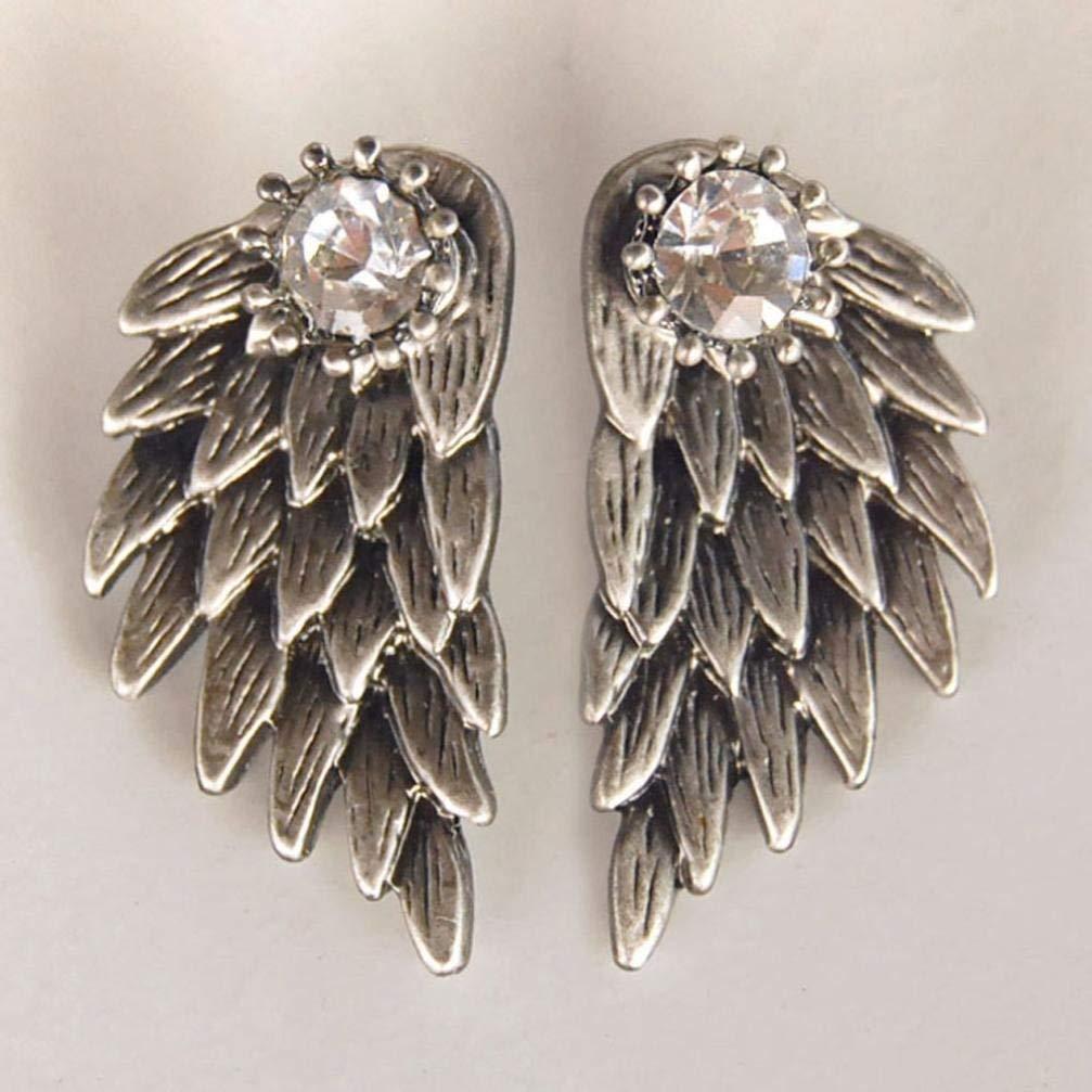 Der Womens Cool Jewelry Angel Wings Rhinestone Alloy Drop Stud Earrings