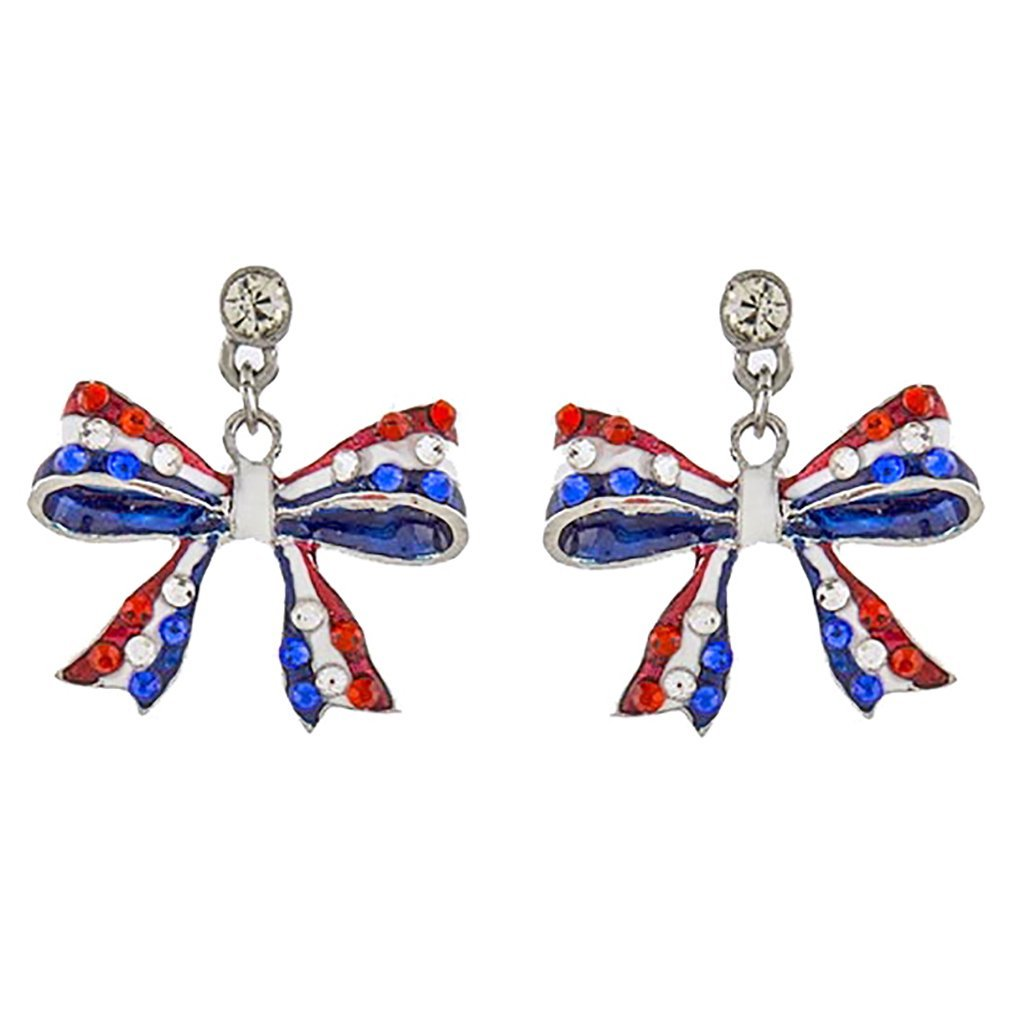ACCESSORIESFOREVER Patriotic Jewelry American Flag Ribbon Bow Crystal Dangle Earrings E1210 Silver