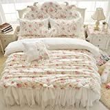 FADFAY 4Pcs/7Pcs Vintage Floral Duvet Cover Set Ruffle And Lace Bedding Set