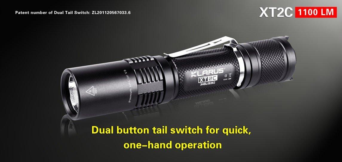 Klarus XT2C mit XP-L Hi LED und Dualswitch mit Akku und Ladegerät