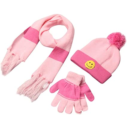 Amazon.com  Kids Toddler Gloves and Hat Set Scarf+Gloves+Hats Baby Boy Girls  Winter Warm Kit (Pink)  Arts ba35a13fce0
