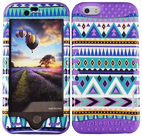 """Cellphone Trendz HARD & SOFT RUBBER HYBRID HIGH IMPACT PROTECTIVE CASE COVER for Apple iPhone 6 4.7"""" 6th Generation - Blue Aztec Tribal Design Hard Case Design on Purple Silicone"""